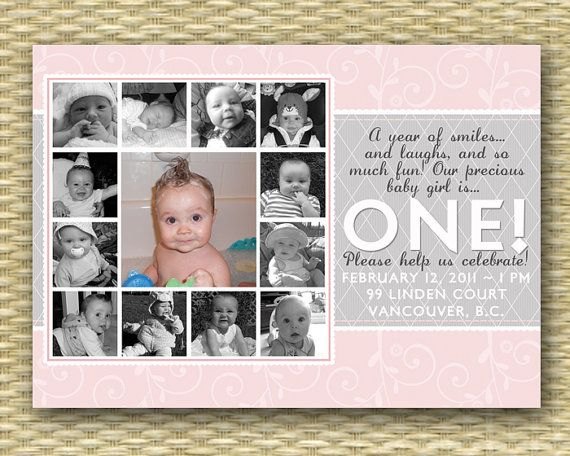 Custom Birthday Invitation Sweet Girl 1st By SunshinePrintables