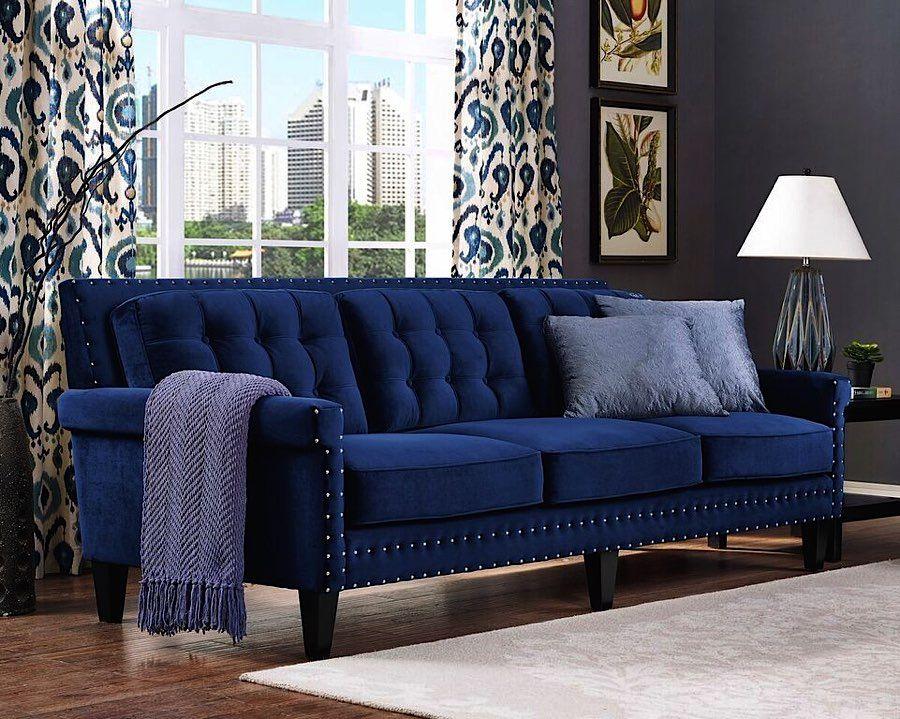Navy Blue Velvet Sofa | Velvet Modern Upholstered Sofa ...