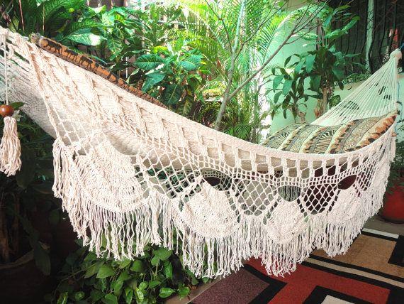 Beige Single Boho Style Hammock handwoven Natural Cotton in 2019  Einrichtung Deko  Boho