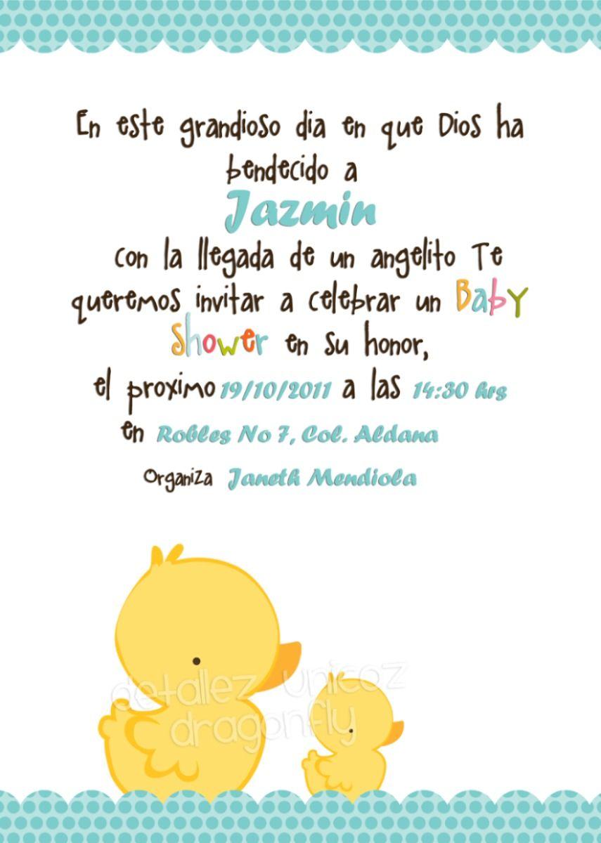Versos Para Invitaciones De Baby Shower En Espanol : versos, invitaciones, shower, espanol, Tarjeta, Shower-datos, Patos, Shower, Invitaciones,, Invitaciones, Imprimir,