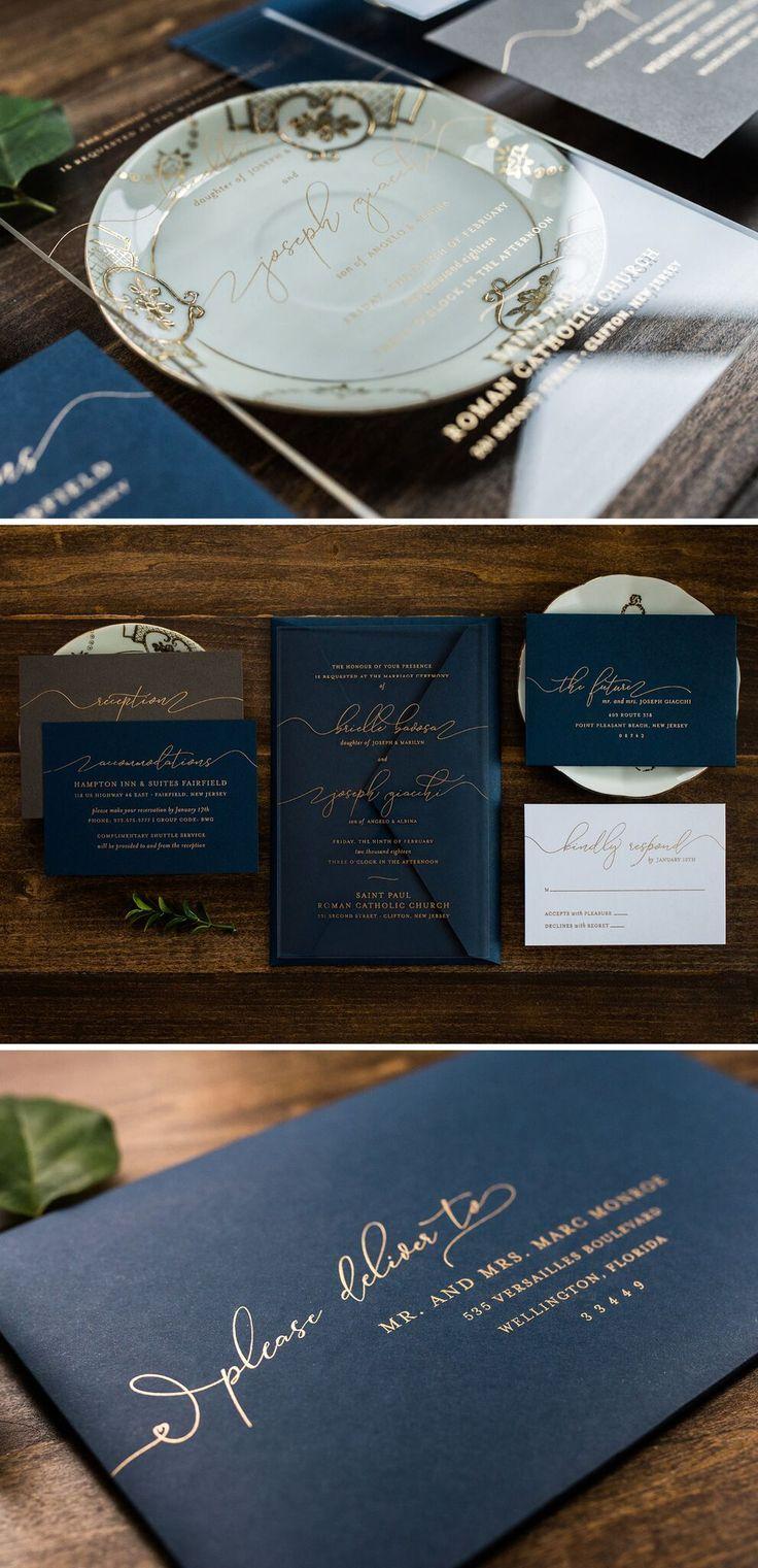 These simple, yet chic acrylic wedding invitation sets