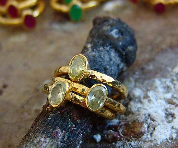3 pcs Hand Forged Yelow Citrine Stack Rings Set 18 k by Ferimer