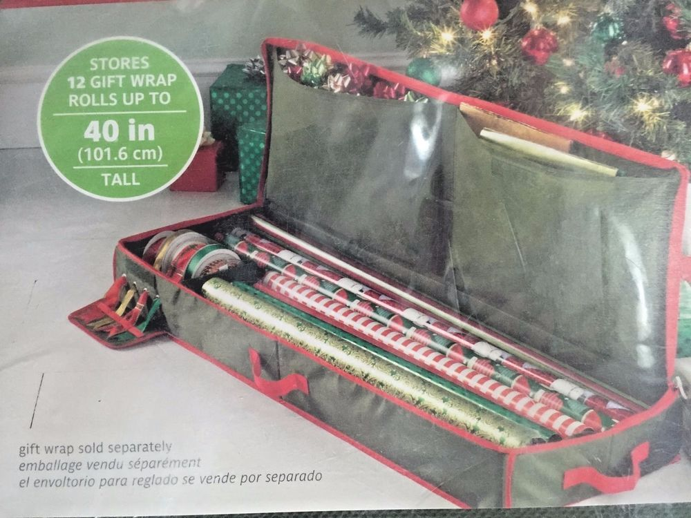 Christmas gift wrap storage bag wrapping paper bows real