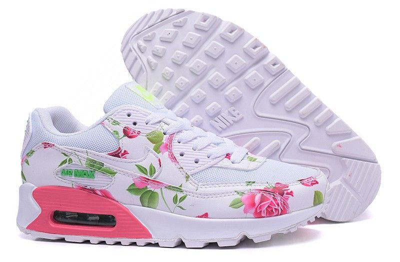 2a4902422990 Women s Nike White Pink Air Max 90 Floral Print Rose Running Shoes ...