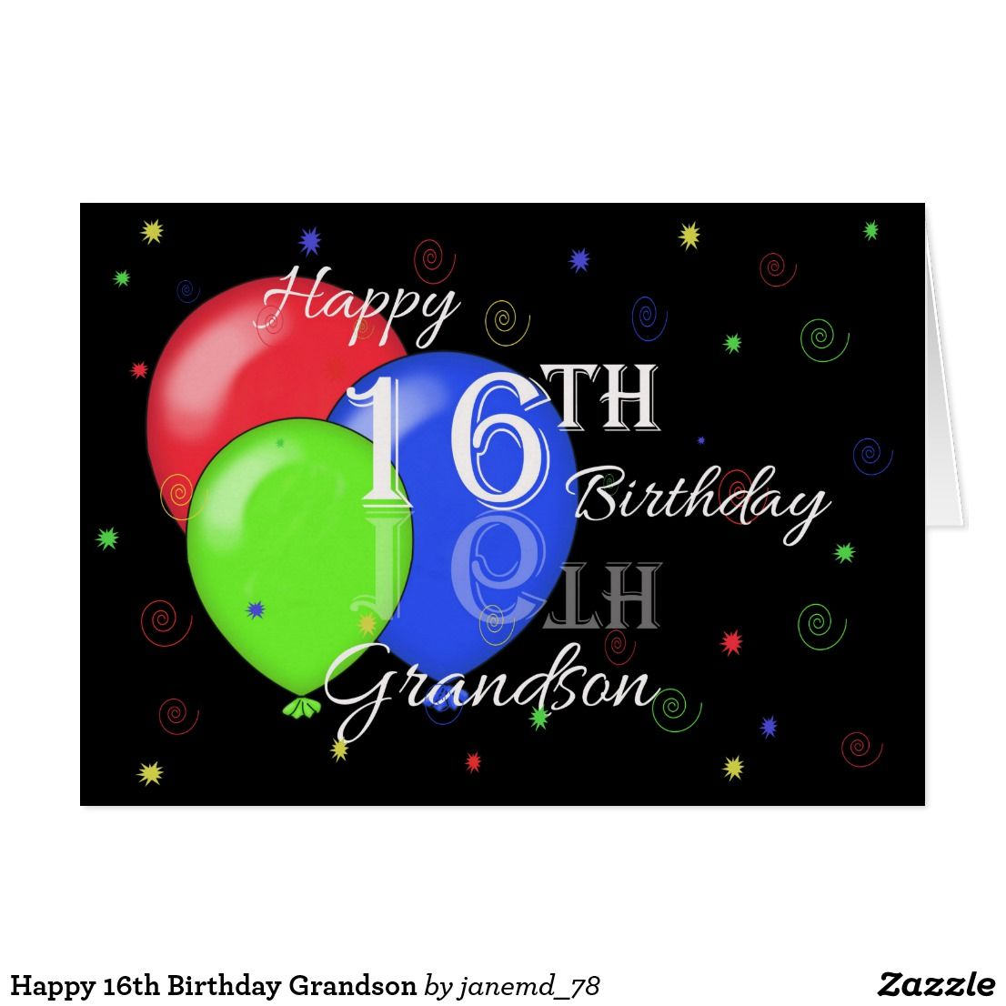 Happy 16th Birthday Grandson Card