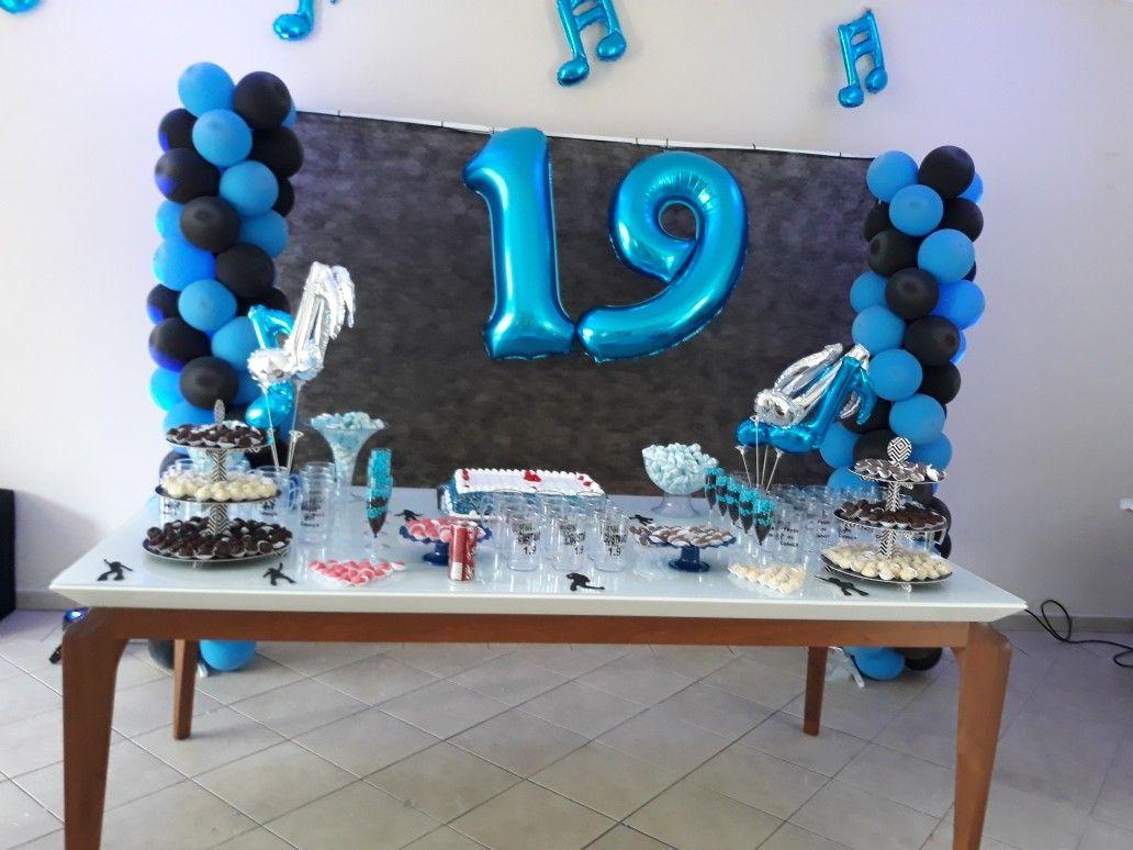 19 Anos Festa Azul E Preto Com Imagens Aniversario Adolescente