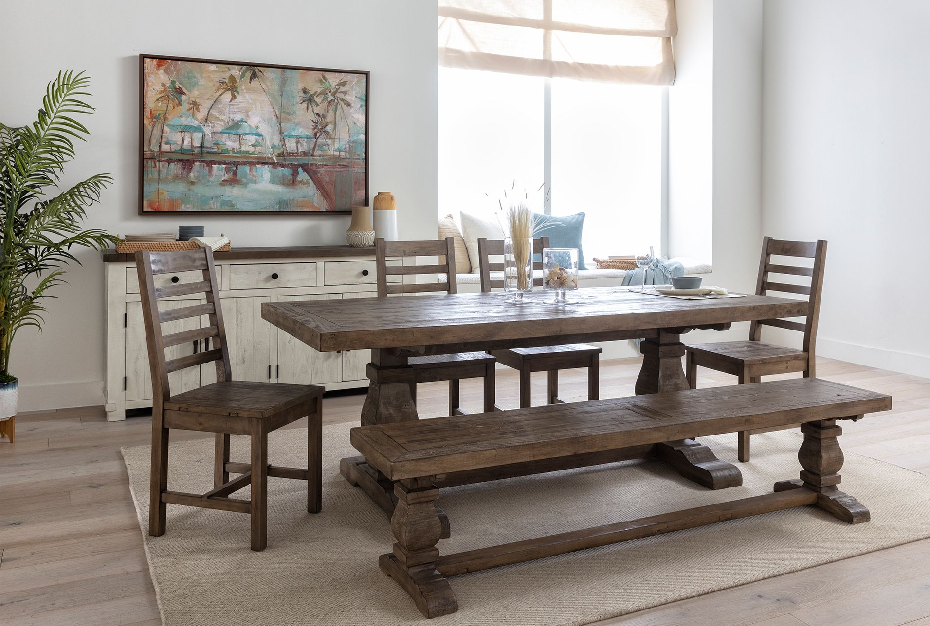 Brent buffet white 950 rectangle dining table
