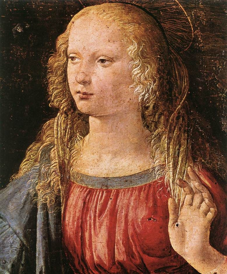 Leonardo da Vinci (1452-1519)  Annunciation [detail: 3]  Tempera on wood  1472-1475