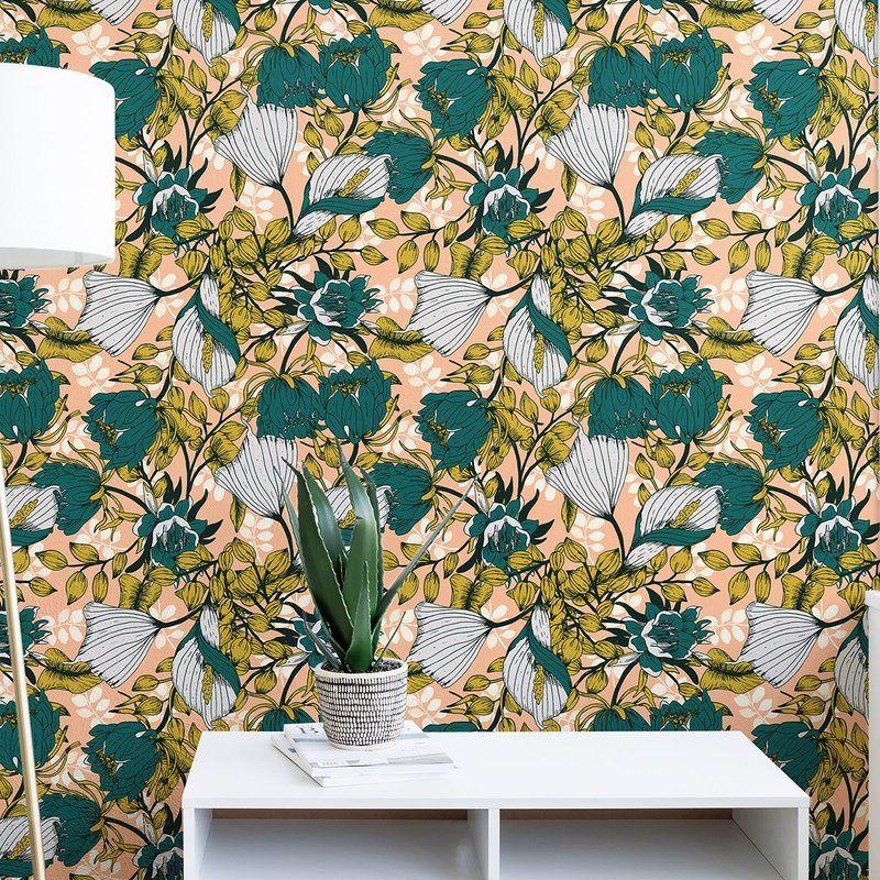 Marta Barragan Camarasa Tropical Autumnal Bloom 10 L X 24 W Matte Peel And Stick Wallpaper Panel Wallpaper Panels Peel And Stick Wallpaper Wallpaper Stencil