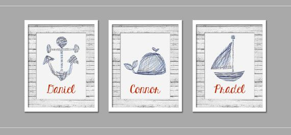 Custom Listing - Navy and Gray Nautical Nursery Print Set of 3 - INSTANT DOWNLOAD