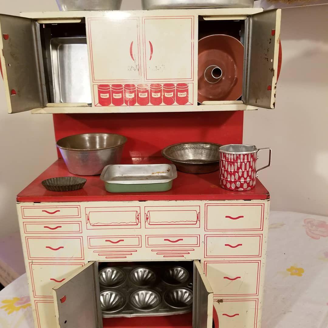 Kidkraft large pastel kitchen  SOLD Mid Century Kitschy Wolverine LARGE Tin Toy Cupboard Hoosier