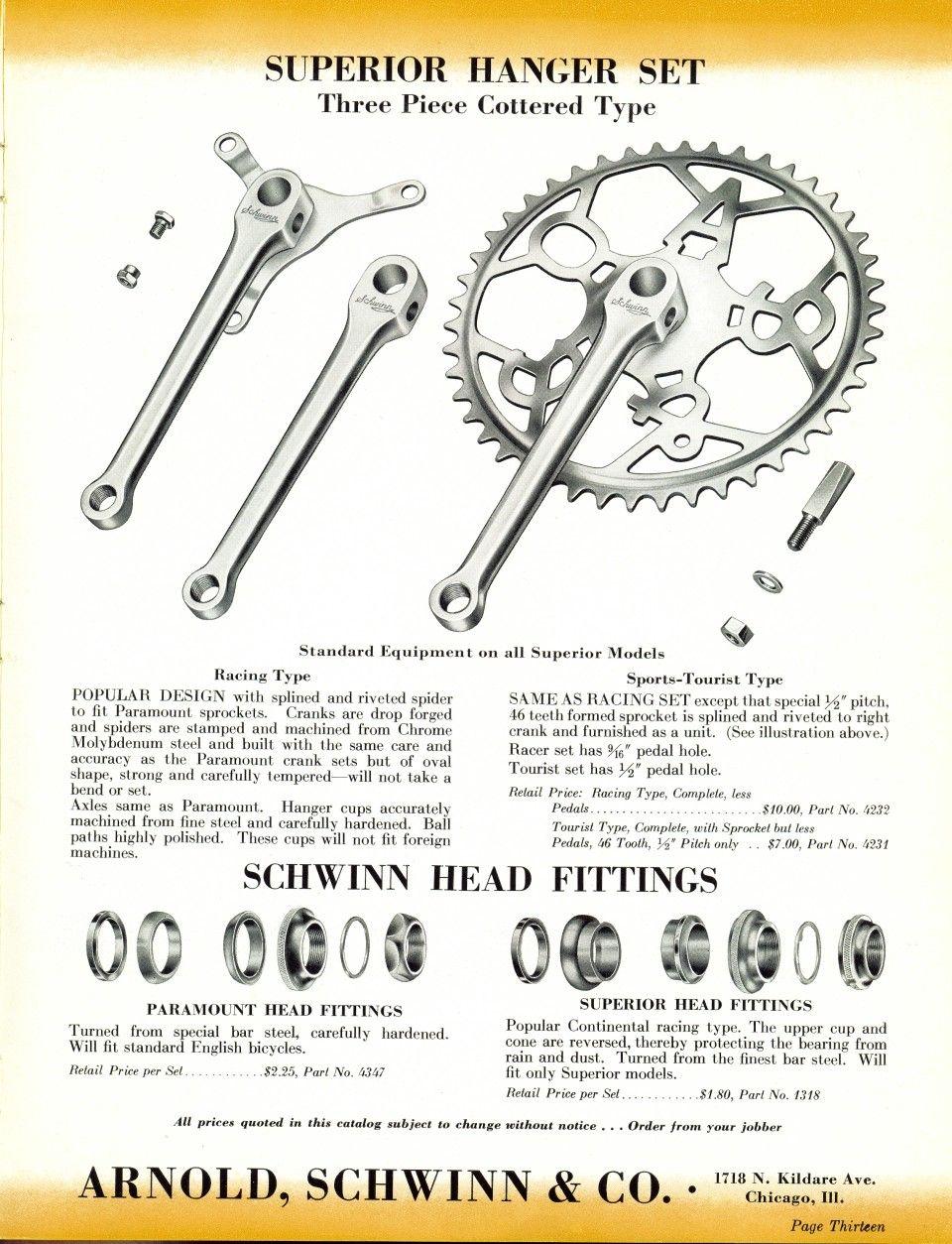Schwinn Cranks And Headsets 1939