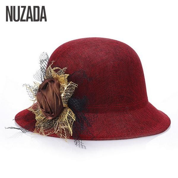 Brands NUZADA Women Lady Fedoras Top Hat Spring Summer Bowler Hats Straw Cap  Breathable Sunscreen Flax b27e085c25f