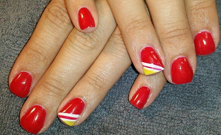 Shellac KC Chiefs inspired nail art | Crafted Hand | Pinterest ...