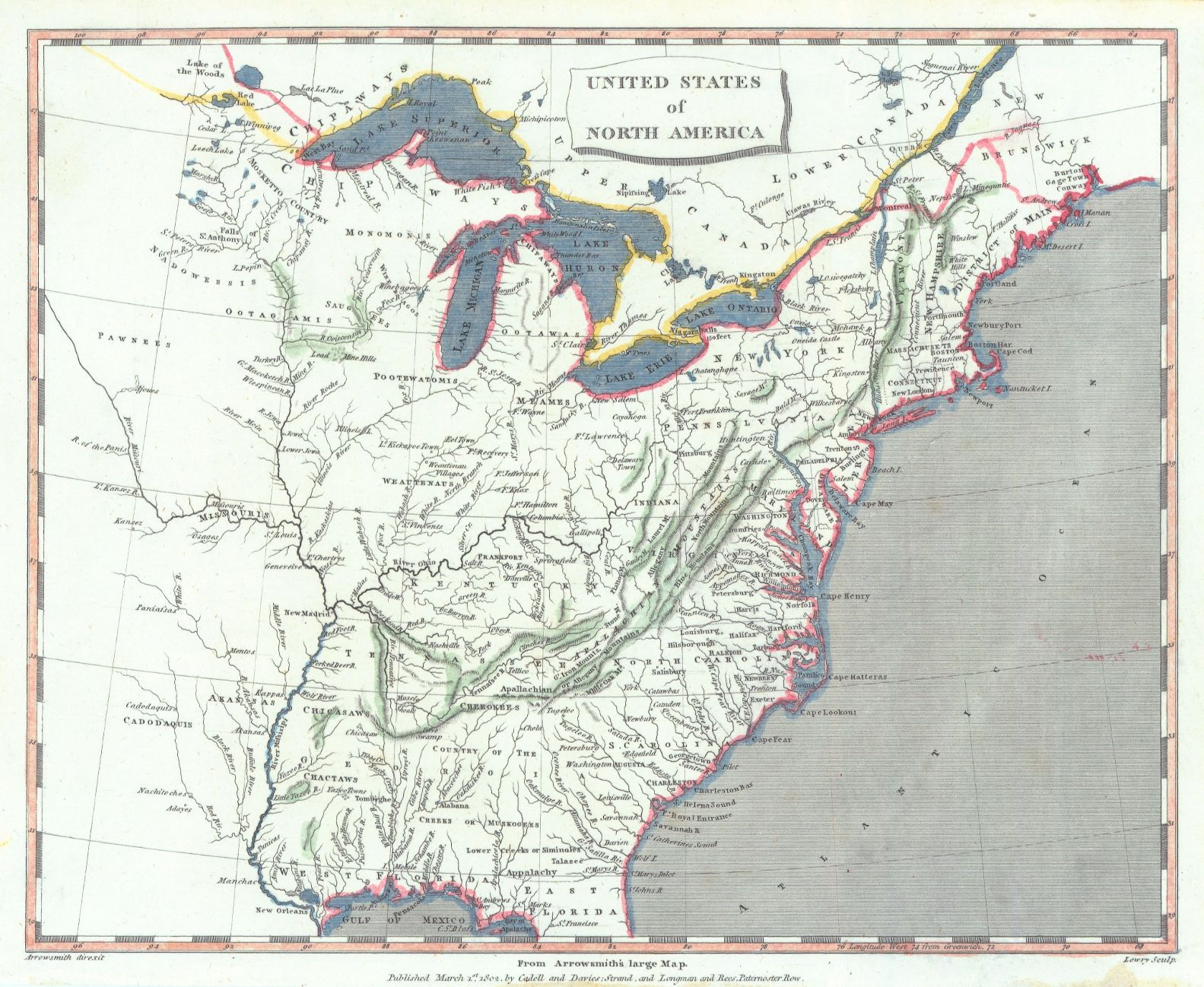 Map Antique United States Of North America From Arrowsmiths - Us map west of the mississippi
