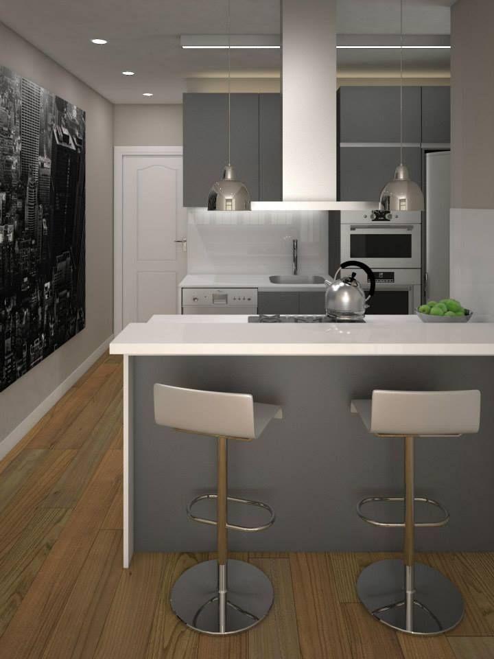 Barra tipo cocina americana en barcelona reformas for Modelos de cocinas modernas americanas