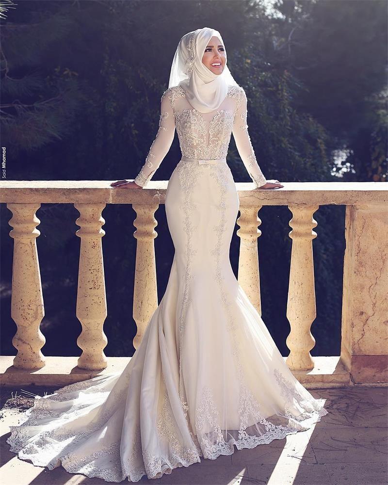 Muslim Wedding Dresses Mermaid Trumpet Vintage Bridal Gowns 2016 Sheer Top Lace Appliques Long Sleeves Arabia Vestidos De Noiva Custom Made