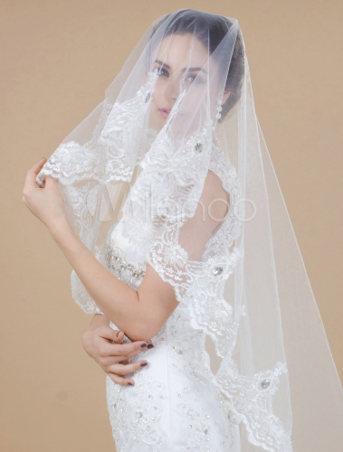 Ivory One-Tier Waterfall Lace Applique Edge Tulle Wedding Chapel Veil - Milanoo.com