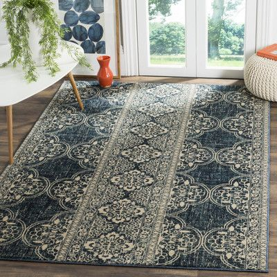 Bungalow Rose Getz Floral Royal Blue Ivory Area Rug Floral Area