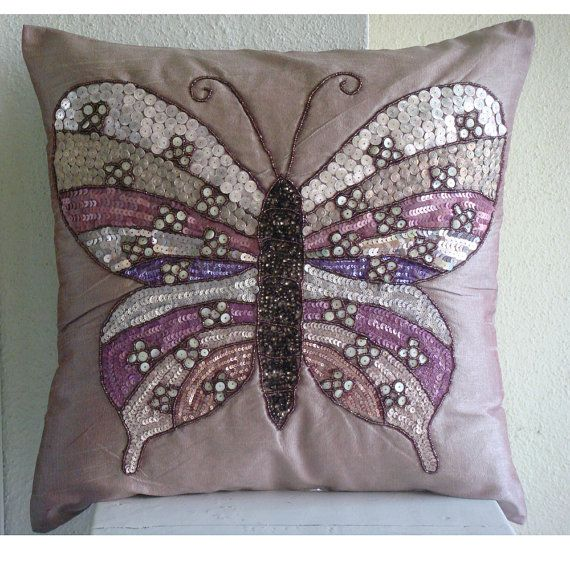 Decorative Pillow Cover Accent Pillows Couch Toss 16x16 Inch Pink Silk Pillow Cover Embroidered Home Decor Bedroom Bedding Butterfly Love