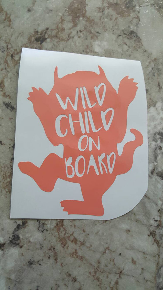Where the wild things are wild child baby on board car window decals custom vinyl decals wild child window decals stickers for car