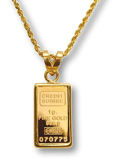 Credit Suisse 1g Gold Bar Necklace Suisse Swiss
