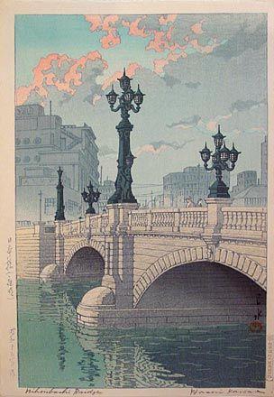 Kawase Hasui (1883-1957): Selection of Views of the Tokaido: Dawn at Nihonbashi Bridge, woodblock print, ca. 1940. SOLD.