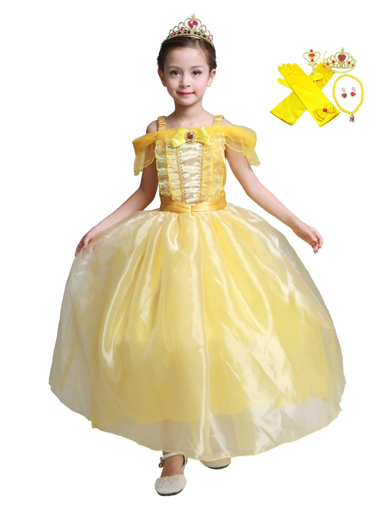 98f9681efee Lito Angels Girls Princess Belle Dress Up Beauty and the Beast Costumes  Fancy Dress with Accessories Size 10 ** You can get more information by  clicking the ...
