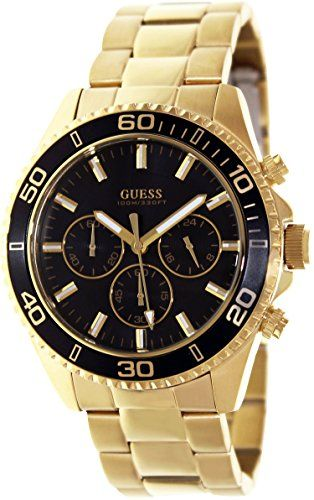 GUESS Men s U0170G2 Sporty Black Dial Gold-Tone Chronograph Watch     Click  image for more details. 285197dae4d