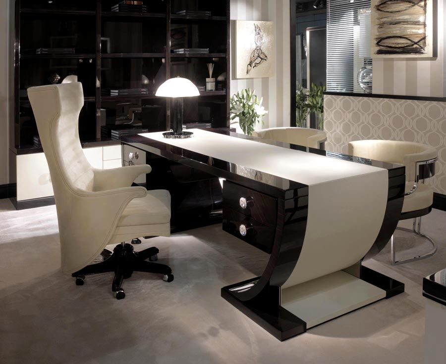 Executive Chair Table Macar Ebony Leather Desk Large Image Of With Cream Centre Panel Drawer Handles In Swarovski