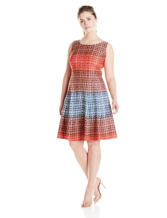 Julian Taylor Womens Plus Size Printed Fit And Flare Dress Burnt