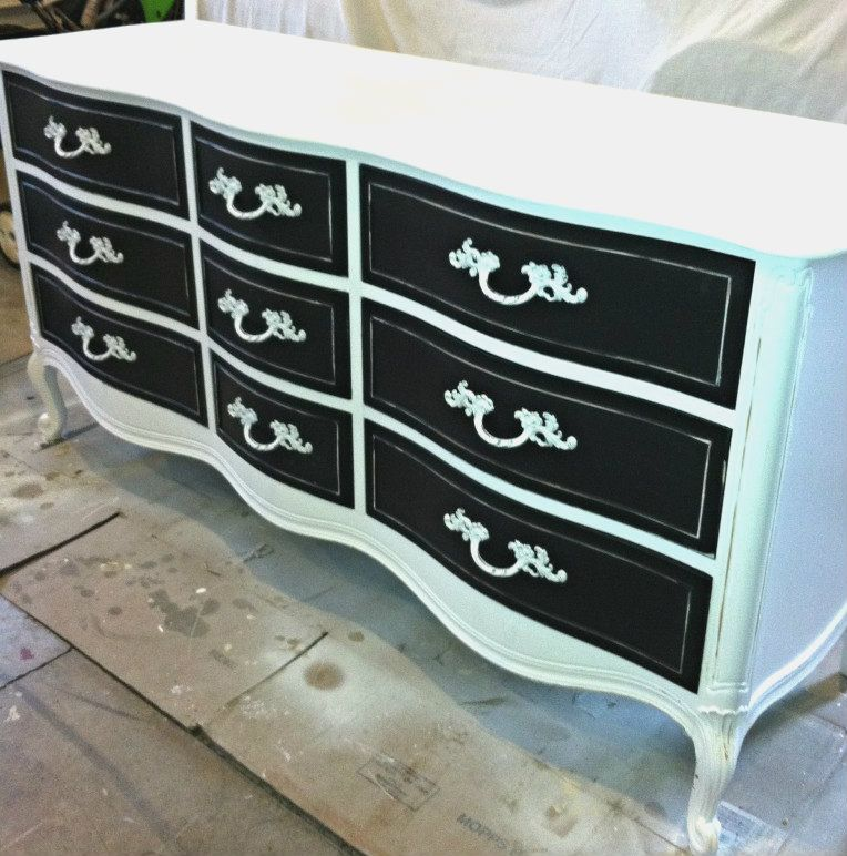 black and white french provincial dresser the shabby cottage home my projects pinterest. Black Bedroom Furniture Sets. Home Design Ideas