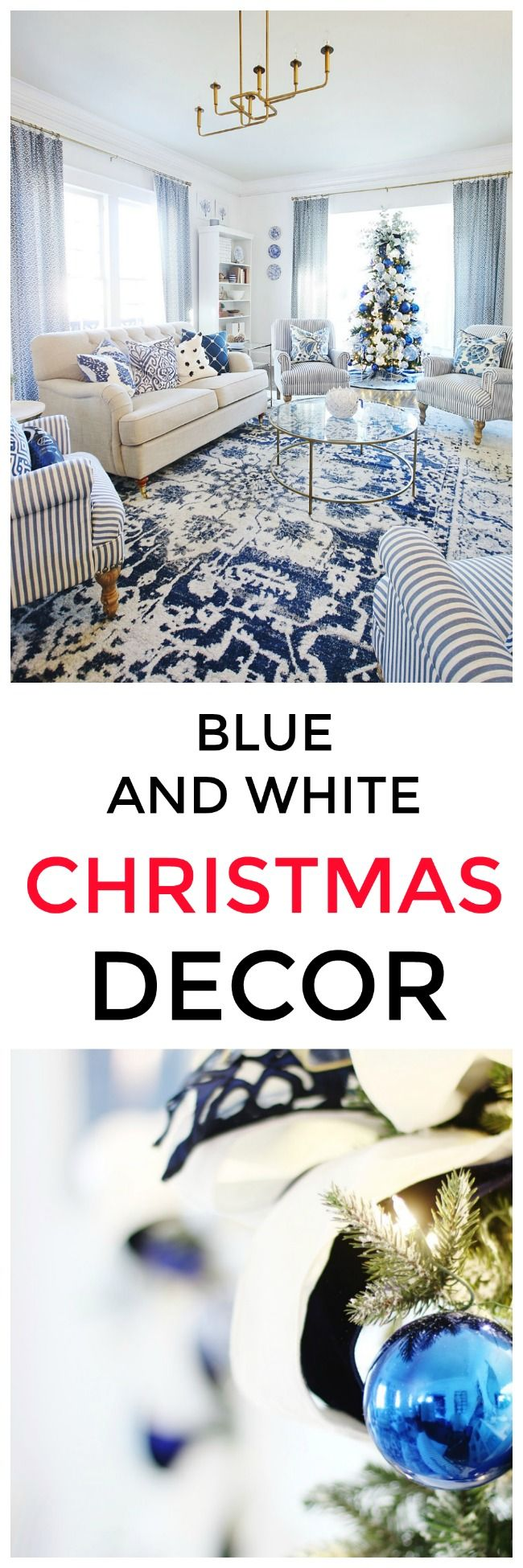 Getting a Blue and White Living Room Ready for Christmas (and a GIVEAWAY) - Thistlewood Farm
