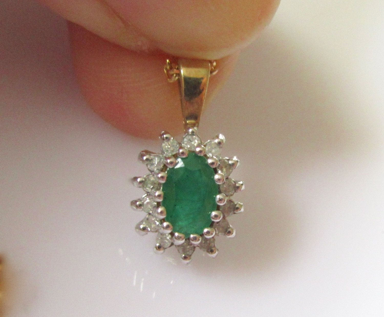 Ct gold diamond and emerald flower pendant and chain ct gold