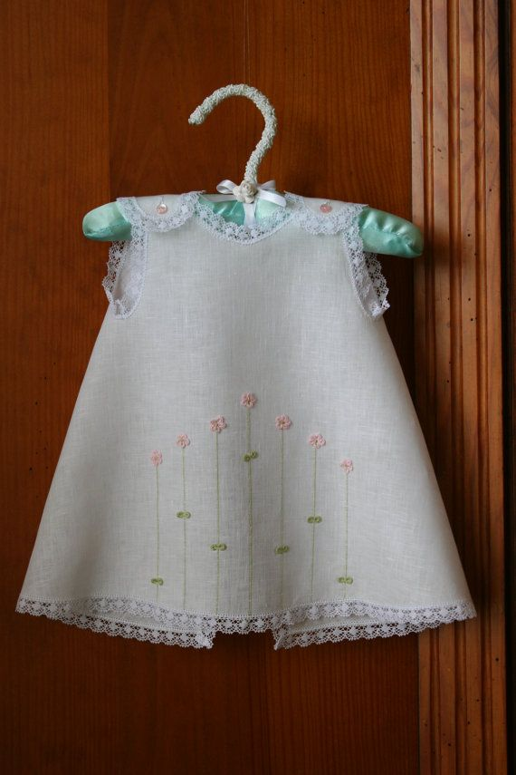 3-D Flowery Dress and Diaper Cover for Baby Girl | 0-3 months| White with 3-D flowers | Handmade Baby Shower gift | Summer gift