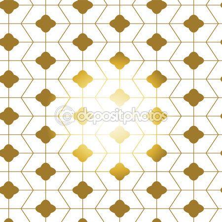Gold white seamless geometric chinese pattern   Asian Motifs