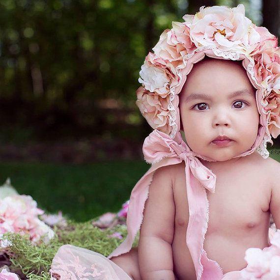 b5dec51b3 Blush Peach Spring Flowers Bonnet - Floral Bonnet Hat - Newborn Girl ...