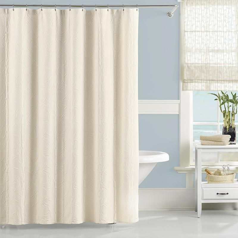 Bring The Zen Inspiring Allure Of Bamboo To Your Bath With The Lamont Home Nepal Shower Curt White Shower Curtain Patterned Shower Curtain Long Shower Curtains