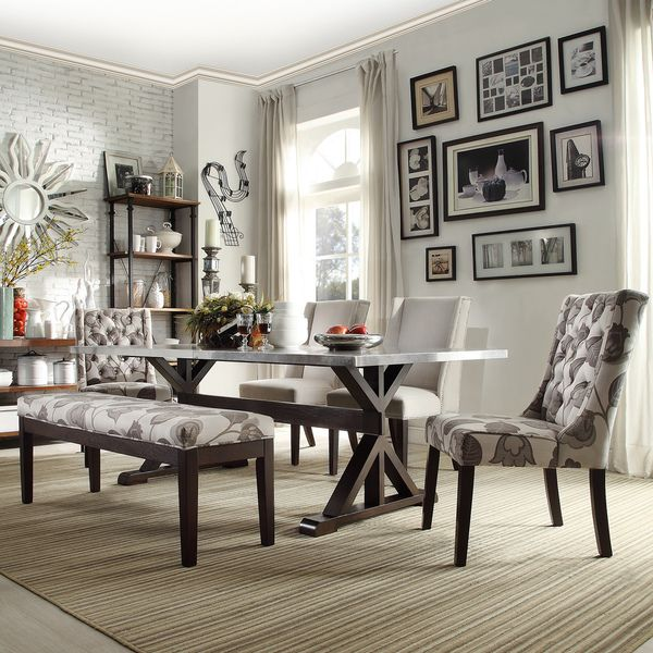 Inspire Q Trumbull Stainless Steel Dining Table Overstock