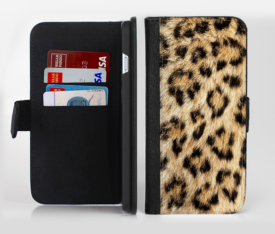The Real Cheetah Animal Print Ink-Fuzed Leather Folding Wallet Credit-Card Case for the Apple iPhone 6/6s, 6/6s Plus, 5/5s and 5c from DesignSkinz