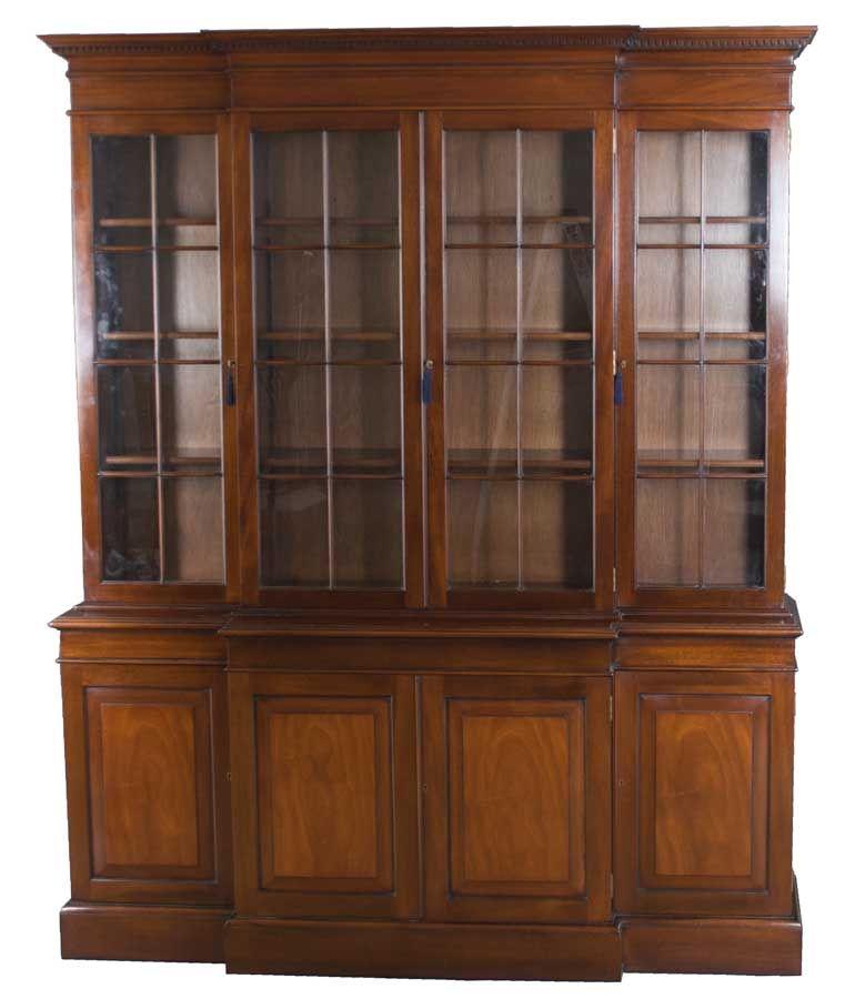 Mahogany Antique Style Four Door Breakfront Bookcase Breakfront Bookcase Breakfront Antique Style