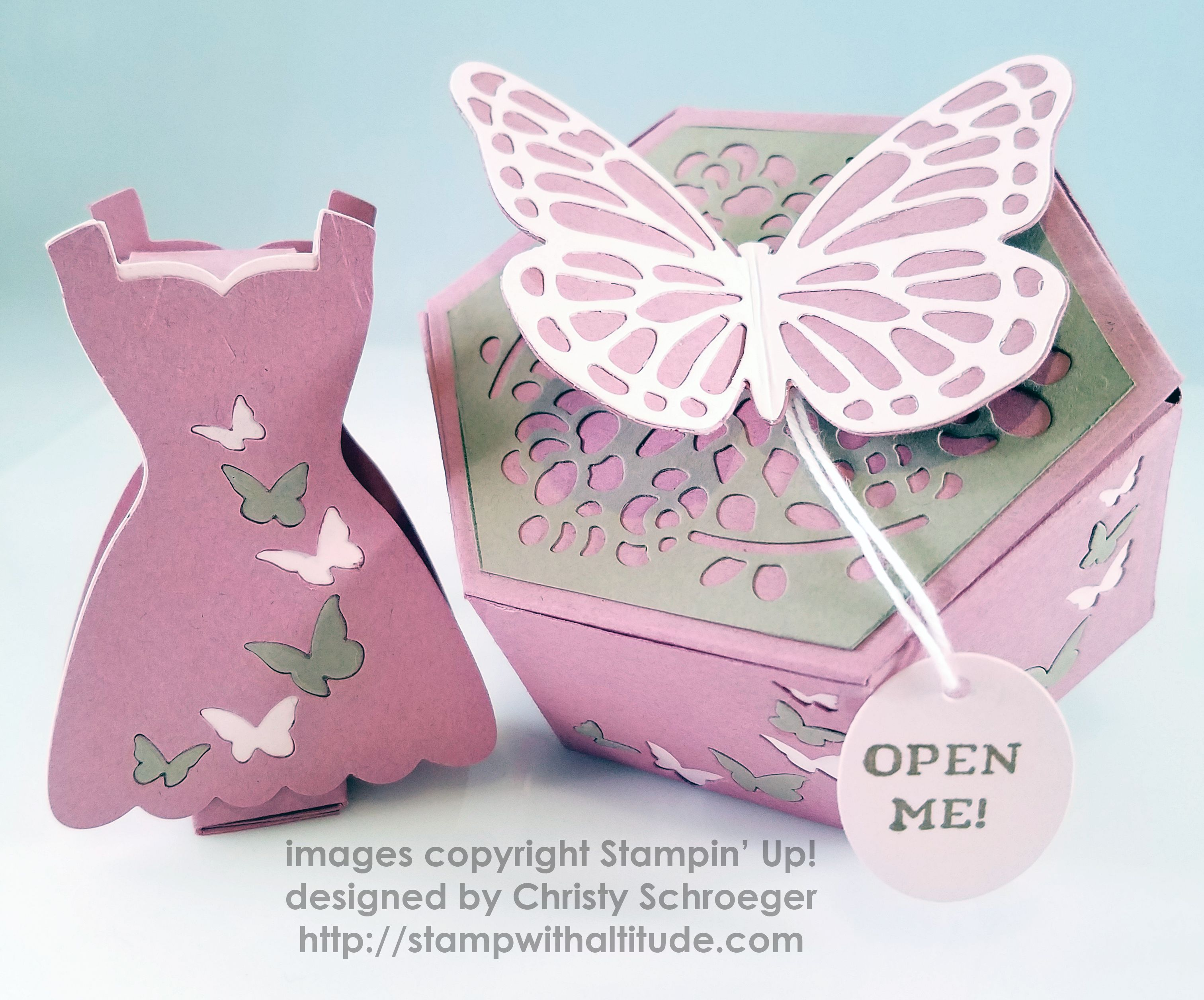Window Shopping Bundle, Window Box Thinlits, Timeless tags, Bold Butterfly Framelits, Butterflies Thinlits by Stampin' Up! were used to make wedding favors.