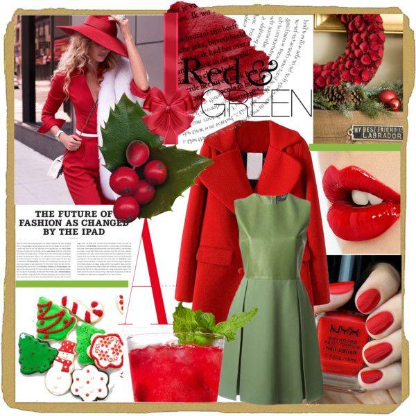 """Red & Green"" by dobrescu-dana on Polyvore"