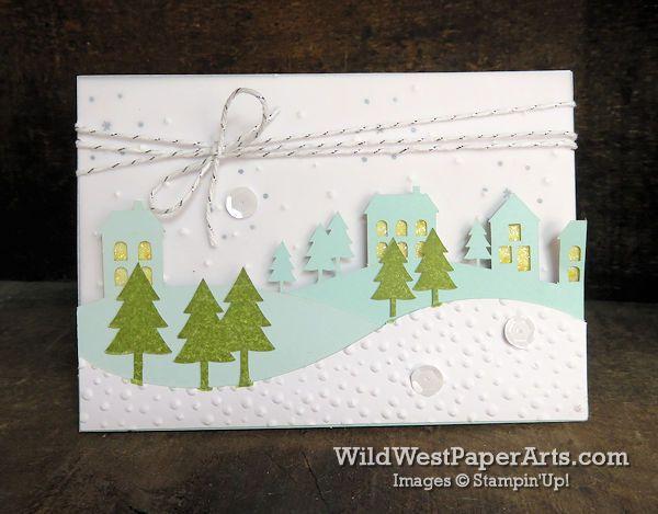 Wonderful Winterland Paper Pumpkin at WildWestPaperArts.com  Alternate Idea with the lights turned on.  #paperpumpkin #christmascard