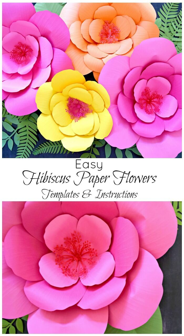 Giant Paper Flower Tutorials Diy Large Hibiscus Flowers Paper
