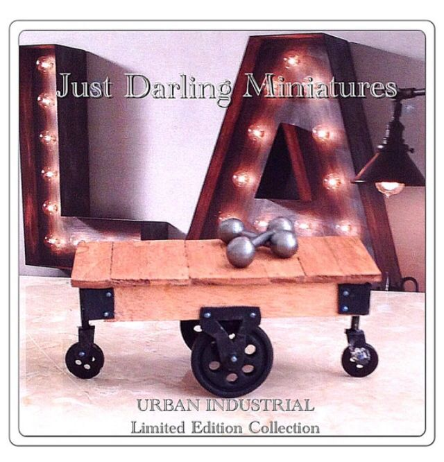 This Miniature Industrial Cart Coffee Table ~ 1:12 Dollhouse Scale - $38.50
