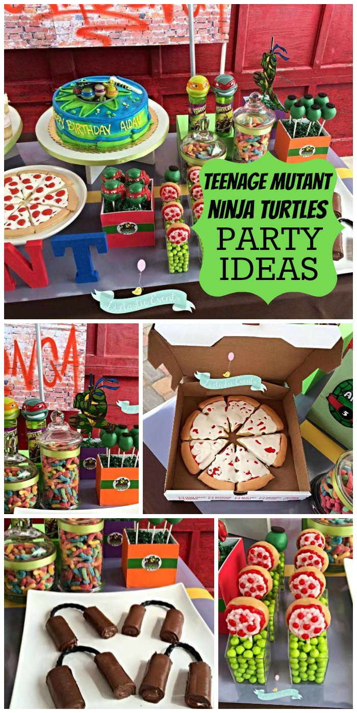 An awesome Teenage Mutant Ninja Turtle boy birthday party with pizza and fun treats!  See more party planning ideas at CatchMyParty.com!