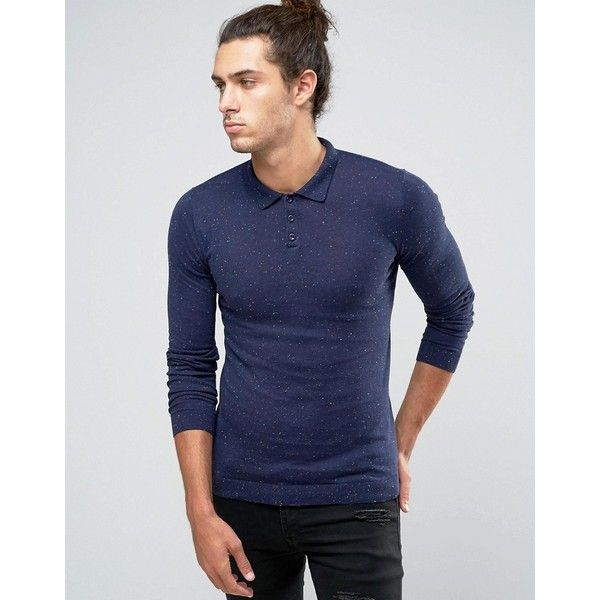 ASOS Fitted Fit Knitted Polo in Cotton ($31) ❤ liked on Polyvore featuring men's fashion, men's clothing, men's shirts, men's polos, navy, men's cotton polo shirts, mens navy blue shirt, mens long sleeve shirts, mens fitted shirts and mens slim fit short sleeve shirts