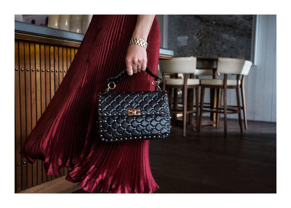 57b12c153bd Valentino, rockstud, spike, bag, valentino bag, black studded bag, black bag,  dion lee, pleated skirt, outfit, amanda shadforth, oracle fox