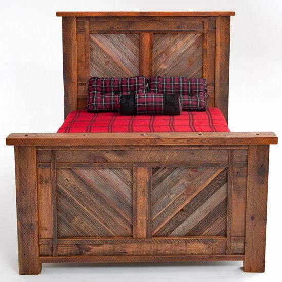 Barn Wood Bedroom Furniture: Rustic Bed, Barn Wood Furniture, Unique Herringbone Design